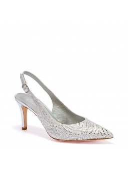 Silver laminate leather and suede slingback with rhinestones and microstuds deta