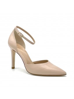 Nude colour leather D'Orsay with strap. Leather lining. Leather sole. 9,5 cm hee
