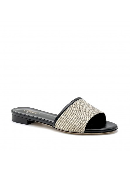 Black leather and multicolor fabric mule. Leather lining, leather sole. 1 cm hee