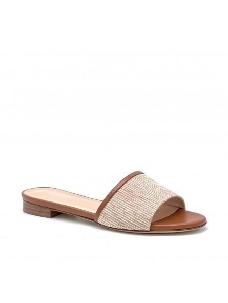Brown leather and pink tones fabric mule. Leather lining, leather sole. 1 cm hee