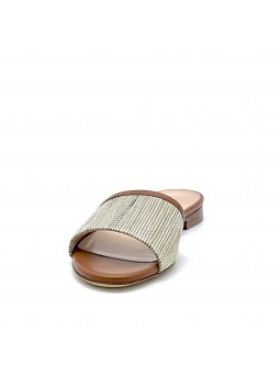 Brown leather and multicolor fabric mule. Leather lining, leather sole. 1 cm hee
