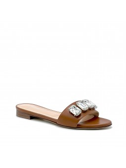 Brown leather mule with crystal bezels. Leather lining, leather sole. 1 cm heel.