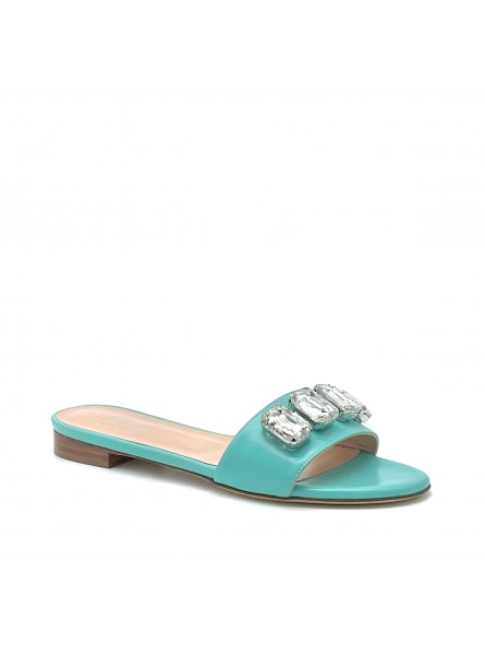 Aquamarine colour leather mule with crystal bezels. Leather lining, leather sole