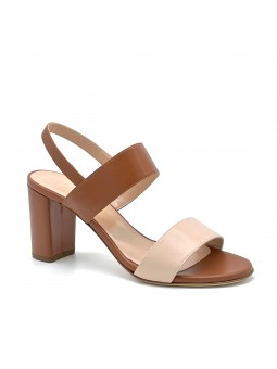 Brown and nude colour leather sandal. Leather lining, leather sole. 7,5 cm heel.