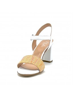 White leather and multicolor fabric sandal with leather covered buckle. Leather
