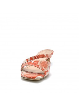 Coral python style leather mule. Leather lining, leather sole. 3,5 cm heel.