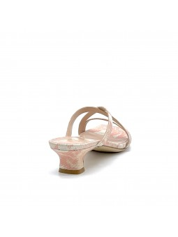 Pink python style leather mule. Leather lining, leather sole. 3,5 cm heel.