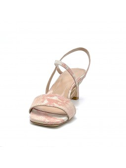 Pink python style leather sandal. Leather lining, leather sole. 5,5 cm heel.