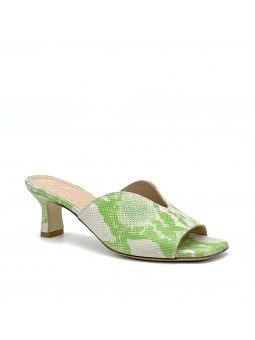 Green python style leather mule. Leather lining, leather sole. 5,5 cm heel.