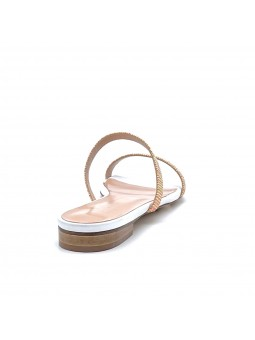 White leather and multicolor fabric mule. Leather lining, leather sole. 1 cm hee