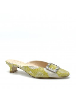 "Yellow python style leather mule with ""buckle"" accessory. Leather lining, le"