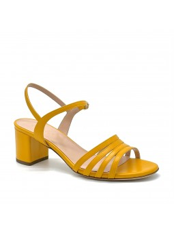 Yellow leather sandal. Leather lining, leather sole. 5,5 cm heel.