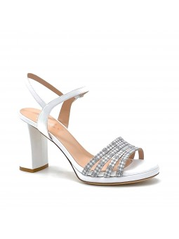 White leather and white/grey checkered fabric sandal with platform. Leather lini
