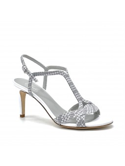 White leather and white/grey checkered fabric sandal. Leather lining, leather so