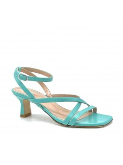 Aquamarine colour leather sandal with ankle strap. Leather lining, leather sole.