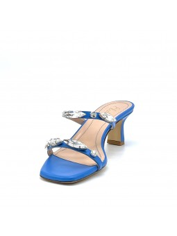 Bright blue leather mule with hand-embroidered crystal rhinestones. Leather lini
