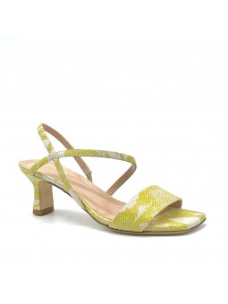 Yellow python style leather sandal. Leather lining, leather sole. 5,5 cm heel.