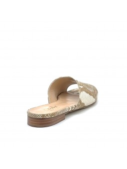 Beige python style leather mule. Leather lining, leather sole. 1 cm heel.