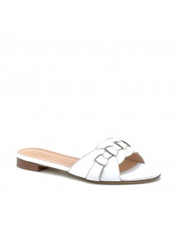 White leather mule with intertwined band. Leather lining, leather sole. 1 cm hee