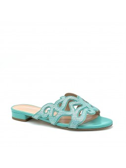 "Aquamarine nappa and glittery leather ""arabesque"" mule. Leather lining, leat"