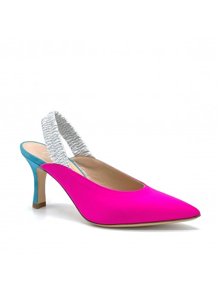 Fuchsia silk slingback with silver elastic strap and light blue suede heel. Leat