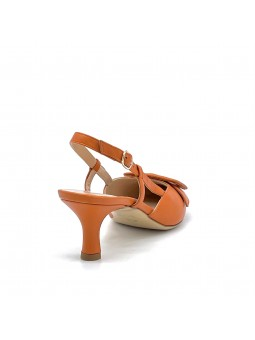 Orange leather slingback with a leather covered buckle accessory. Leather lining