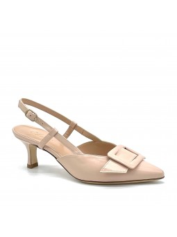 Nude colour leather slingback with a leather covered buckle accessory. Leather l
