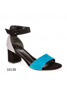 Black, light blue and grey suede sandal with suede covered buckle. Leather linin