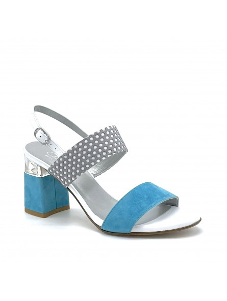 White leather, light blue suede and grey/white polka dots fabric sandal. Heel wi
