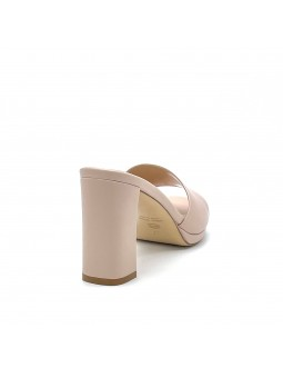 Nude colour leather mule with platform. Leather lining, leather sole. 8 cm heel