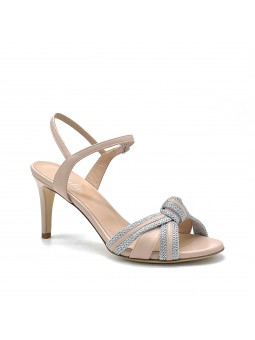 Nude colour leather and silver fabric sandal with ankle strap. Leather lining, l