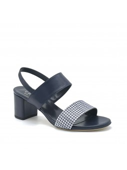 Blue leather and black/blue checkered fabric sandal. Leather lining, leather sol