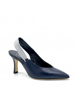 Blue leather slingback with silver stretch fabric strap. Leather lining, leather