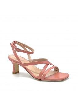 Pink leather sandal with ankle strap. Leather lining, leather sole. 5,5 cm heel.
