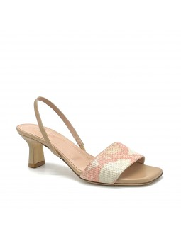 Beige nappa and pink printed leather sandal. Leather lining, leather sole. 5,5 c