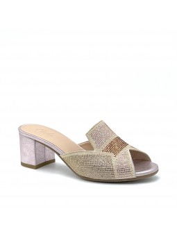 Pink laminate suede mule with rhinestones and microstuds detail. Leather lining,