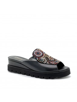 """Black leather and suede mule with """"luminaria"""" rhinestones and microstuds det"""