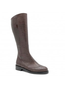 Brown printed leather boot. Leather lining, rubber sole. 3,5 cm heel.