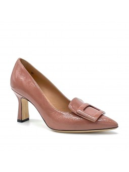 """Old rose printed suede pump with """"buckle"""" accessory. Leather lining, leather"""