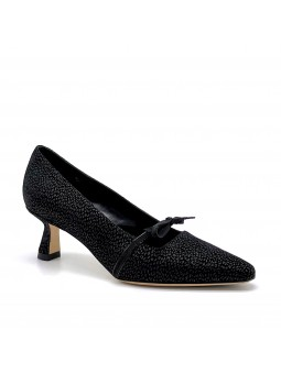 Black printed suede pump with grosgrain ribbon and black patent detail. Leather
