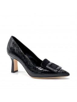 """Black printed leather and suede pump with black """"buckle"""" accessory. Leather"""