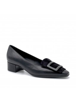 """Black leather and suede pump with """"buckle"""" accessory. Leather lining, leathe"""