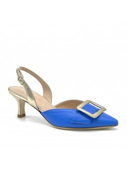Slingback in pelle colore bluette e pelle laminata oro con accessorio  buckle  f